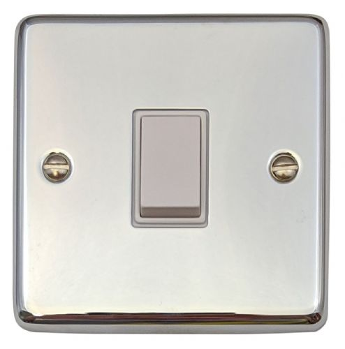 G&H CC1W Standard Plate Polished Chrome 1 Gang 1 or 2 Way Rocker Light Switch